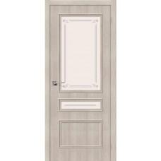 Дверь экошпон BRAVO Симпл-15.2 ДО Cappuccino Veralinga со стеклом Mystic