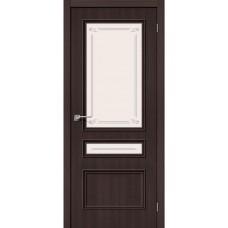 Дверь экошпон BRAVO Симпл-15.2 ДО Wenge Veralinga со стеклом Mystic