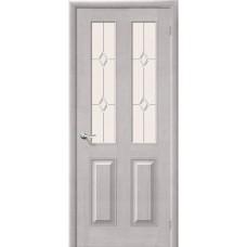 Дверь массив сосны BRAVO Беларускiя Дзверы М15 ДО Т-07 Белый воск со стеклом Полимер