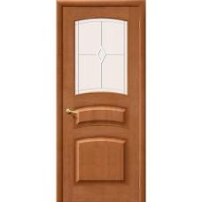Дверь массив сосны BRAVO Беларускiя Дзверы М16 ДО Т-05 Светлый лак со стеклом Полимер