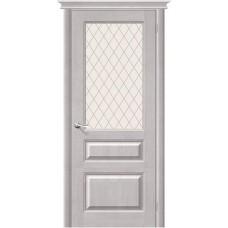 Дверь массив сосны BRAVO Беларускiя Дзверы М5 ДО Т-07 Белый воск со стеклом Кристалл