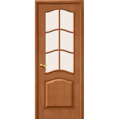 Дверь массив сосны BRAVO Беларускiя Дзверы М7 ДО Т-05 Светлый лак со стеклом Сатинато
