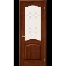 Дверь массив сосны BRAVO Беларускiя Дзверы М7 ДО Т-06 Темный лак со стеклом Полимер