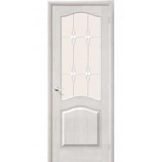 Дверь массив сосны BRAVO Беларускiя Дзверы М7 ДО Т-07 Белый воск со стеклом Полимер