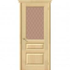 Дверь массив сосны BRAVO Беларускiя Дзверы М5 ДО Под покраску со стеклом Кристалл