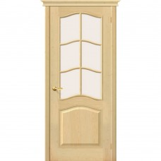 Дверь массив сосны BRAVO Беларускiя Дзверы М7 ДО Под покраску со стеклом Сатинато
