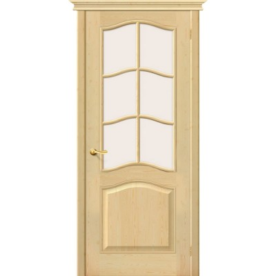 Под покраску дверь массив сосны BRAVO Беларускiя Дзверы М7 ДО со стеклом Сатинато