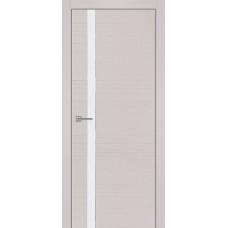 Дверь iB DOORS WL Гармония ALU-кромка 2 ст. Беленый дуб со стеклом Белый лак, с зарезкой под замок