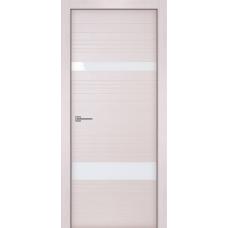 Дверь iB DOORS WL Синергия ALU-кромка 2 ст. Беленый дуб со стеклом Белый лак, с зарезкой под замок