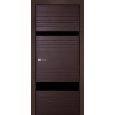 Дверь iB DOORS WL Синергия ALU-кромка 2 ст. Венге со стеклом Черный лак, с зарезкой под замок