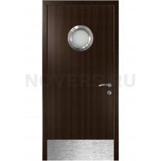Дверь пластиковая Капель (Kapelli Classic) венге с иллюминатором и отбойной пластиной