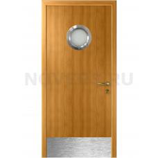 Дверь пластиковая Капель (Kapelli Classic) миланский орех с иллюминатором и отбойной пластиной
