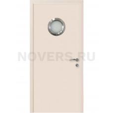 Дверь пластиковая Капель (Kapelli Classic) кремовый RAL 9001 с иллюминатором
