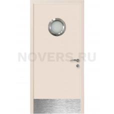 Дверь пластиковая Капель (Kapelli Classic) кремовый RAL 9001 с иллюминатором и отбойной пластиной