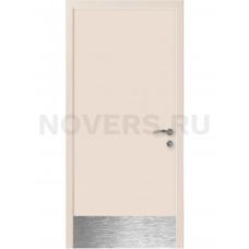 Дверь пластиковая Капель (Kapelli Classic) кремовый RAL 9001 с отбойной пластиной
