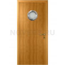 Дверь пластиковая Капель (Kapelli Classic) миланский орех с иллюминатором