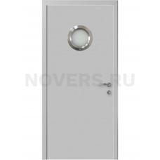 Дверь пластиковая Капель (Kapelli Classic) светло серый RAL 7035 с иллюминатором