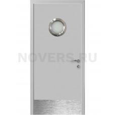 Дверь пластиковая Капель (Kapelli Classic) светло серый RAL 7035 с иллюминатором и отбойной пластиной