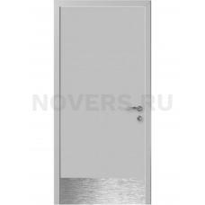 Дверь пластиковая Капель (Kapelli Classic) светло серый RAL 7035 с отбойной пластиной