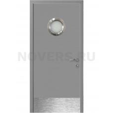 Дверь пластиковая Капель (Kapelli Classic) темно серый RAL 7040 с иллюминатором и отбойной пластиной
