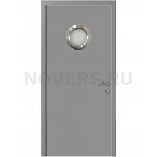Дверь пластиковая Капель (Kapelli Classic) темно серый RAL 7040 с иллюминатором