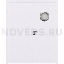 Дверь пластиковая Капель (Kapelli Classic) белый двустворчатая с иллюминатором