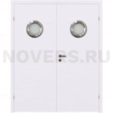 Дверь пластиковая Капель (Kapelli Classic) белый двустворчатая с двумя иллюминаторами