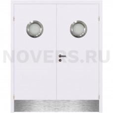 Дверь пластиковая Капель (Kapelli Classic) белый двустворчатая с двумя иллюминаторами с отбойными пластинами