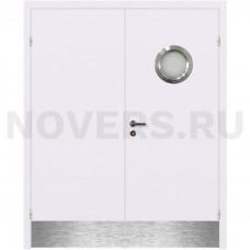 Дверь пластиковая Капель (Kapelli Classic) белый двустворчатая с иллюминатором и отбойными пластинами