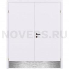 Дверь пластиковая Капель (Kapelli Classic) белый двустворчатая с отбойными пластинами