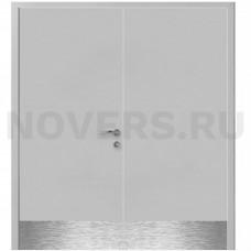 Дверь пластиковая Капель (Kapelli Classic) серый RAL 7035 двустворчатая с отбойными пластинами