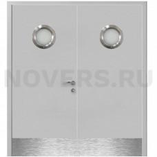 Дверь пластиковая Капель (Kapelli Classic) серый RAL 7035 двустворчатая с двумя иллюминаторами и отбойными пластинами