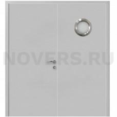 Дверь пластиковая Капель (Kapelli Classic) серый RAL 7035 двустворчатая с иллюминатором