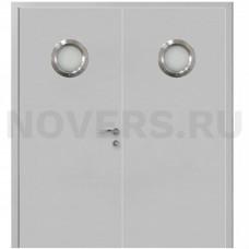 Дверь пластиковая Капель (Kapelli Classic) серый RAL 7035 двустворчатая с двумя иллюминаторами