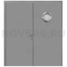 Дверь пластиковая Капель (Kapelli Classic) серый RAL 7040 двустворчатая с иллюминатором