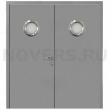Дверь пластиковая Капель (Kapelli Classic) серый RAL 7040 двустворчатая с двумя иллюминаторами