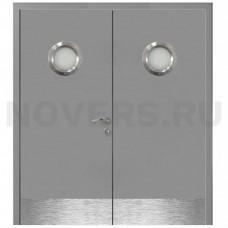 Дверь пластиковая Капель (Kapelli Classic) серый RAL 7040 двустворчатая с двумя иллюминаторами и отбойными пластинами