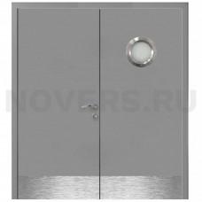 Дверь пластиковая Капель (Kapelli Classic) серый RAL 7040 двустворчатая с иллюминатором и отбойными пластинами