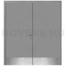 Дверь пластиковая Капель (Kapelli Classic) серый RAL 7040 двустворчатая с отбойными пластинами