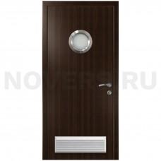 Дверь пластиковая Капель (Kapelli Classic) венге с иллюминатором и вентиляционной решеткой