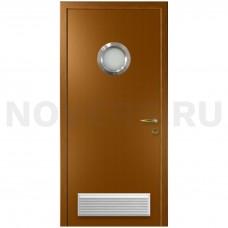 Дверь пластиковая Капель (Kapelli Classic) дуб золотой с иллюминатором и вентиляционной решеткой