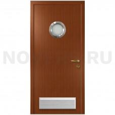 Дверь пластиковая Капель (Kapelli Classic) итальянский орех с иллюминатором и вентиляционной решеткой