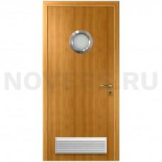 Дверь пластиковая Капель (Kapelli Classic) миланский орех с иллюминатором и вентиляционной решеткой