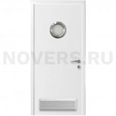 Дверь пластиковая Капель (Kapelli Classic) белый с иллюминатором и вентиляционной решеткой