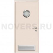 Дверь пластиковая Капель (Kapelli Classic) кремовый RAL 9001 с иллюминатором и вентиляционной решеткой