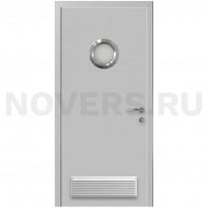 Дверь пластиковая Капель (Kapelli Classic) светло серый RAL 7035 с иллюминатором и вентиляционной решеткой