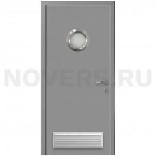 Дверь пластиковая Капель (Kapelli Classic) темно серый RAL 7040 с иллюминатором и вентиляционной решеткой