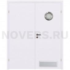 Дверь пластиковая Капель (Kapelli Classic) белый двустворчатая с иллюминатором и вентиляционной решеткой
