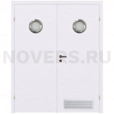 Дверь пластиковая Капель (Kapelli Classic) белый двустворчатая с двумя иллюминаторами и  вентиляционной решеткой