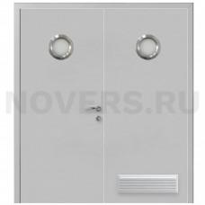 Дверь пластиковая Капель (Kapelli Classic) серый RAL 7035 двустворчатая с двумя иллюминаторами и вентиляционной решеткой